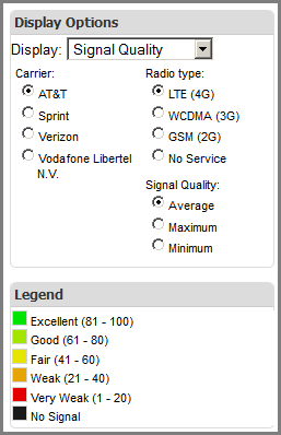 Specifying Coverage Map Display Options - Cellular signal strength map