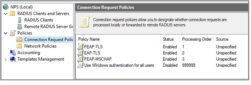 Configuring NPS for PEAP or EAP-TLS